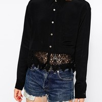 Kiss The Sky Crop Shirt With Lace Trim