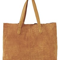Women's Topshop Leather Tote Bag - Brown