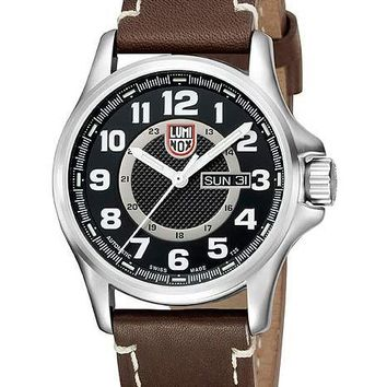 Luminox Mens Automatic Day Date Watch - Black Dial - Brown Leather Strap