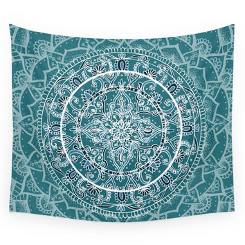 Society6 Detailed Teal And Blue Mandala Pattern Wall Tapestry