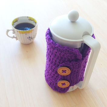 Crocheted knitted french press cozy made with 100% wool - in Royal Blue, Hot Pink, Violet, Dark Purple, Emerald Green, Apple Green