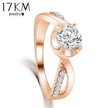 17KM 2/Color hot New Design Fashion Noble Rose Gold Color Zircon Crystal  Rings jewelry ! CRYSTAL SHOP