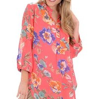 May Flowers Top, Coral