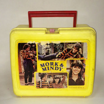 Vintage Mork & Mindy Lunch Box Display Decor piece in Gameroom Mancave Collectors Salvaged TV Robin Williams