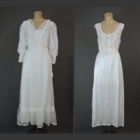 Tosca Lingerie of California - White Lace Peignoir Nightgown and Robe Set - 36 Bust - Vintage 1980s