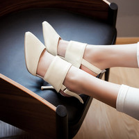 Pointed Toe Ankle Wrap Cone Heel Women Sandals Pumps 9104