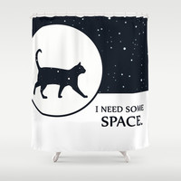 I need some space funny cat illustration with white stars and blue sky Shower Curtain by Bad English Cat