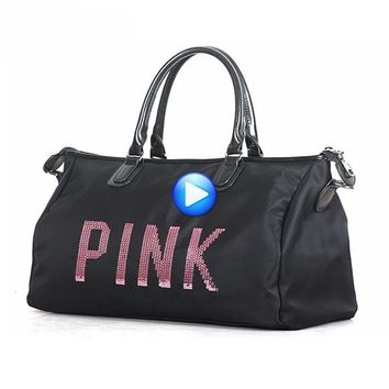 Hot Training Female Yoga Duffel Bag Metal Sequins PINK Letters Gym Fitness Sports Bag Shoulder Bag Women Tote Handbag Travel