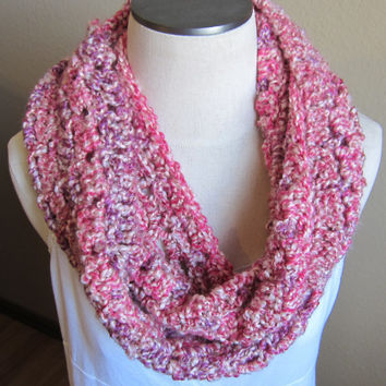 Crochet Cowl, Infinity Scarf, Hooded Scarf Lion Brand Homespun Yarn in Cherry Blossom