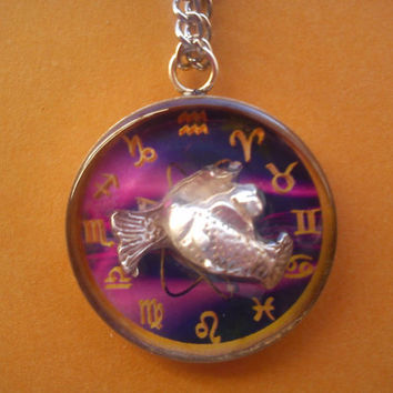 Astrological Sign 3D Pisces , Necklace,Pendant,Zodiac Charm, Astrology,horoscope,Birthday gift