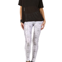 Gasmask Damask Leggings - White