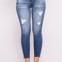 Through The Grapevine Ankle Jeans - Medium Blue Wash