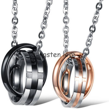 "New Stainless Steel Black Gold ""Loyal Steadfast & Endless Love"" Two Rounds Interlocking Pendant Necklace for Couple Valentine"
