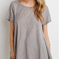 Grey Crew Neck Short Sleeve Loose T-Shirt