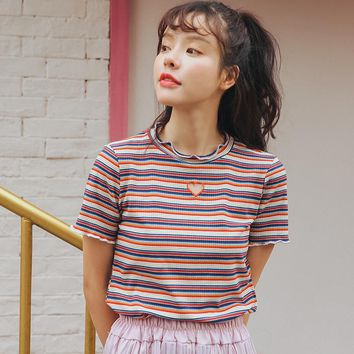 2017 Women'S Harajuku Ulzzang Kawaii Velvet Striped Hollow Out Tshirt Female Cute Korean Japanese Tee And Top For Women