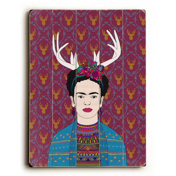 Deer Frida by Artist Bianca Green Wood Sign