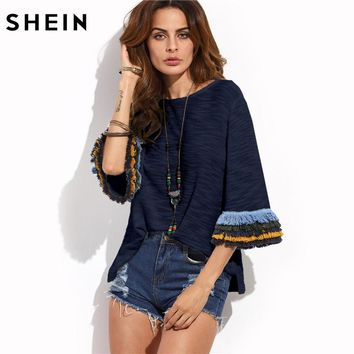 SHEIN Women Summer T shirts Layered Fringe Detail Fluted Sleeve Slub Tee Navy Three Quarter Length Sleeve T-shirt