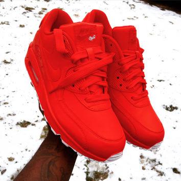 Candy Paint Nike Air Max 90 Hyperfuse Premium Customs in All Red, Blue, Green, Pink, etc, Any Color. In High, Mid, or Low Styling