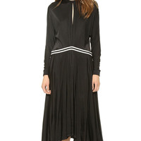 Long Sleeves Pleated Midi Dress With Back Zipper