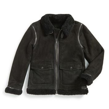 Boy's Burberry 'Mini Ormsby' Suede Jacket with Genuine Shearling Trim,
