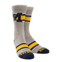 Rock Em Elite Michigan Varsity Stripe Grey Knitted NCAA Licensed Crew Socks
