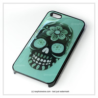 Floral Sugar Skull Turqoise iPhone 4 4S 5 5S 5C 6 6 Plus , iPod 4 5 , Samsung Galaxy S3 S4 S5 Note 3 Note 4 , HTC One X M7 M8 Case