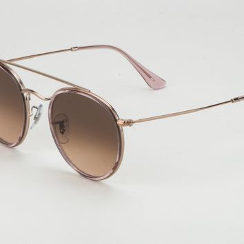 RayBan RB3647N 9069 A5 51-22 Round Rose Gold Brown Gradient Lens Sunglasses
