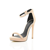 River Island Womens Light pink platform barely there sandals