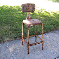 SOLD!  Rustic Metal Kitchen Stool Industrial Steampunk Chair