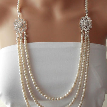 Gatsby Necklace, Wedding Necklace,1920's, Bridal Necklace, Statement Necklace, Crystals, Flapper, Pearl Necklace,  Wedding Jewelry - LEANORA