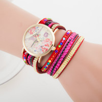 Awesome New Arrival Shiny Gift Stylish Great Deal Hot Sale Ladies Watch Print Fashion Quartz Bracelet [6586430215]