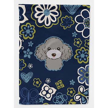 Blue Flowers Silver Gray Poodle Flag Garden Size