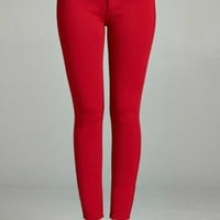For You Red Super Stretch Skinny Pants