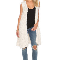 Free People Rolling Stone Furry Vest in Ivory