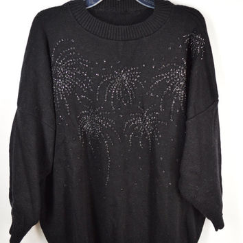 90s Oversize Sweater Jumper Black Fireworks Soft Grunge Glitter Silver Vintage Womens Clothing Large XL Boxy Sparkle Slouchy Sweater Simple
