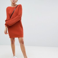 ASOS Chunky Mini Knitted Dress with V Back at asos.com