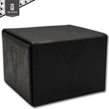 ONETOW Black leather handmade  Board game cards box the magical gathering collection Yu-Gi-Oh board games accessories case container