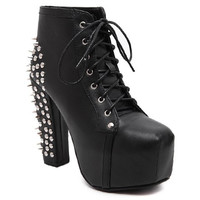 Black Round Toe Studded Ankle Boots With Chunky Heel