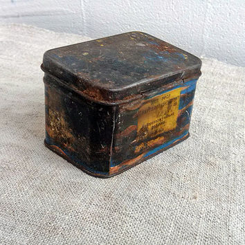1970s Vintage metal box, tea box, Vintage, loose tea, Box, Metal, Steampunk box, supplies, secret, Storage box, Treasure box, Home decor