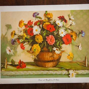 Zinnias and Marigolds by D Roberts