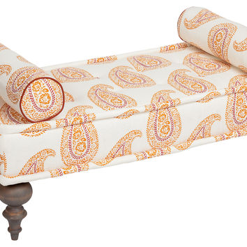 "Kim Salmela, Taza 48"" Paisley Bench, Papaya, Entryway Bench, Bedroom Bench"