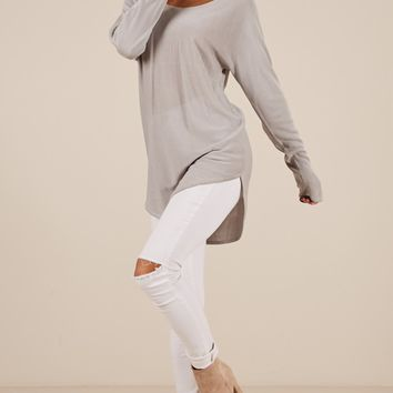 Be My Girl Knit Top In Grey Marle Produced By SHOWPO