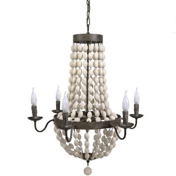 6 Light Wood Candle Chandelier