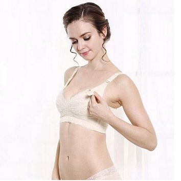 Cup B C D E F Maternity Nursing Bras Lace Front Opening Breast Feeding Pregnant Women Underwear Gravid Clothing Gestant Lingerie