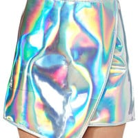 Silver Holographic Asymmetrical Mini Skirt