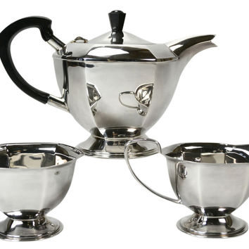 Silver Plated Art Deco Faceted Tea Set by Fenton Brothers, Antique English, 1920s