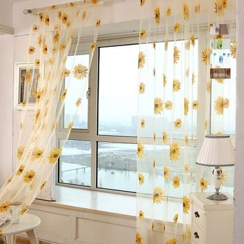 Brand New 5 Colors Fresh Sunflower Pattern Tulle Curtains Kitchen Balcony Room Floral Window Blind