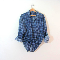 Vintage blue Plaid Flannel / Grunge Shirt / blue button up shirt
