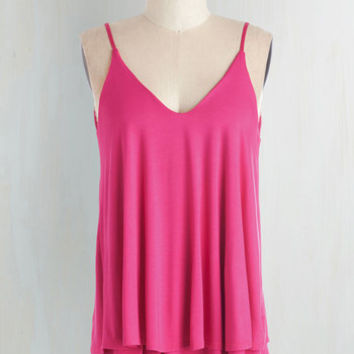 Mid-length Spaghetti Straps Let's Tier it for the Poise Top in Magenta by ModCloth