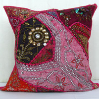 Pink Tribal Bohemian Heavy Beaded Vintage Decorative Throw Pillow